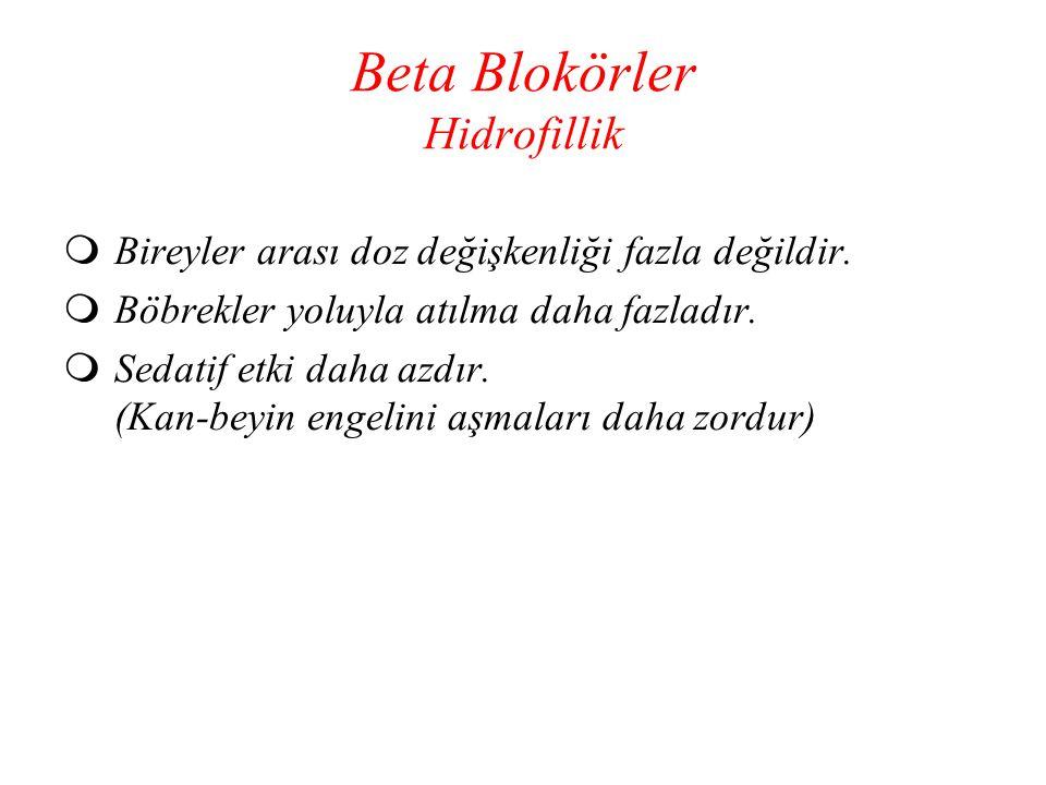 Beta Blokörler Hidrofillik  Bireyler arası doz değişkenliği fazla değildir.  Böbrekler yoluyla atılma daha fazladır.  Sedatif etki daha azdır. (Kan