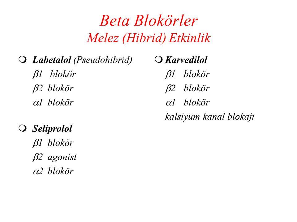 Beta Blokörler Melez (Hibrid) Etkinlik  Labetalol (Pseudohibrid)  1 blokör  2blokör  1blokör  Seliprolol  1blokör  2agonist  2blokör  Karvedi