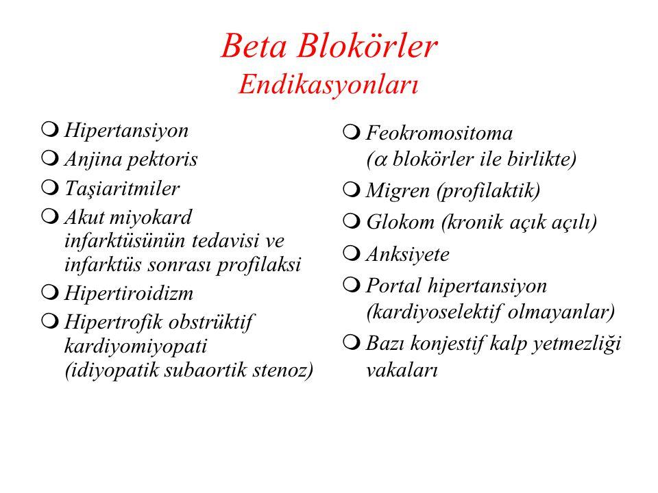 Beta Blokörler Endikasyonları  Hipertansiyon  Anjina pektoris  Taşiaritmiler  Akut miyokard infarktüsünün tedavisi ve infarktüs sonrası profilaksi