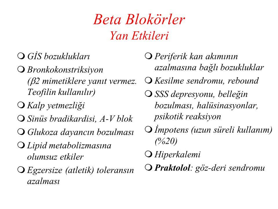 Beta Blokörler Yan Etkileri  GİS bozuklukları  Bronkokonstriksiyon (  2 mimetiklere yanıt vermez. Teofilin kullanılır)  Kalp yetmezliği  Sinüs br