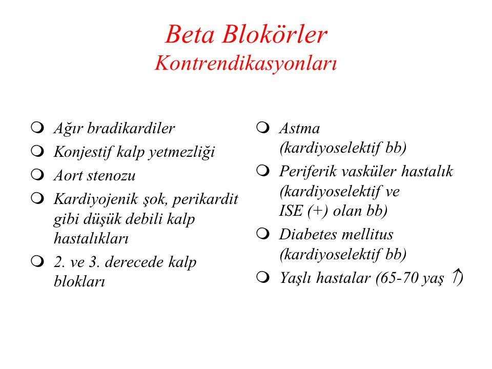 Beta Blokörler Kontrendikasyonları  Ağır bradikardiler  Konjestif kalp yetmezliği  Aort stenozu  Kardiyojenik şok, perikardit gibi düşük debili ka