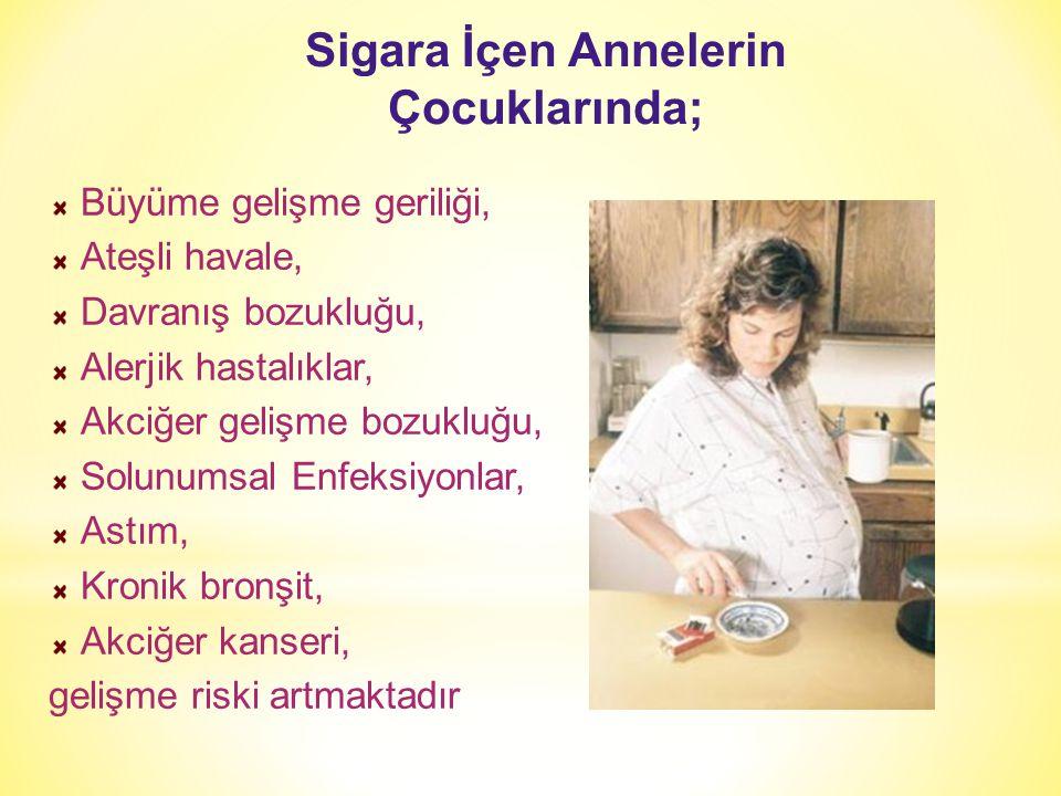 Sigara İçen Annelerin Çocuklarında; Büyüme gelişme geriliği, Ateşli havale, Davranış bozukluğu, Alerjik hastalıklar, Akciğer gelişme bozukluğu, Solunu