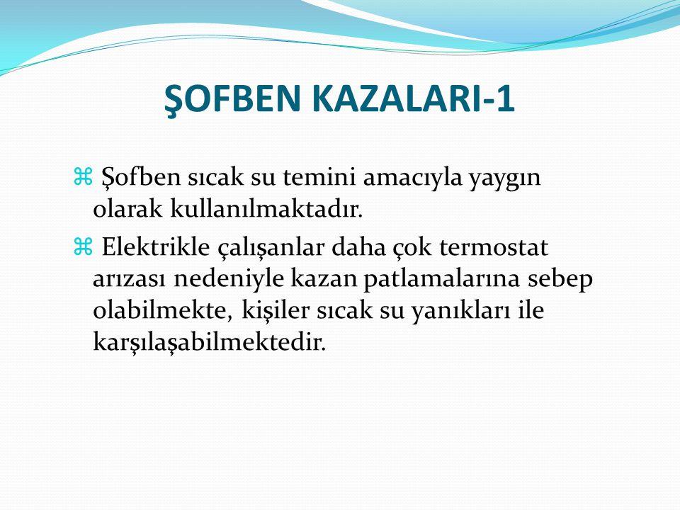 ŞOFBEN KAZALARI-1  Şofben sıcak su temini amacıyla yaygın olarak kullanılmaktadır.  Elektrikle çalışanlar daha çok termostat arızası nedeniyle kazan