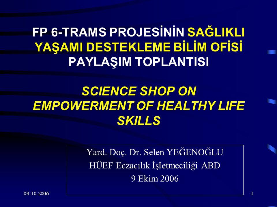 09.10.20061 FP 6-TRAMS PROJESİNİN SAĞLIKLI YAŞAMI DESTEKLEME BİLİM OFİSİ PAYLAŞIM TOPLANTISI SCIENCE SHOP ON EMPOWERMENT OF HEALTHY LIFE SKILLS Yard.