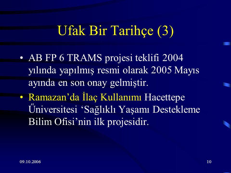 09.10.200610 Ufak Bir Tarihçe (3) AB FP 6 TRAMS projesi teklifi 2004 yılında yapılmış resmi olarak 2005 Mayıs ayında en son onay gelmiştir.