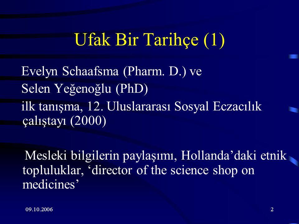 09.10.20063 İlk Ortak Proje Fikri Ramazan'da İlaç Kullanımı Ramazan'da birinci kuşak Tűrk/Faslı Diyabet hastalarında ilaç uyunçsuzluğu probleminin tespiti ve nedenleri 2003-2004'te karşılıklı űlke ziyaretleri ve ilk verilerin toplanması