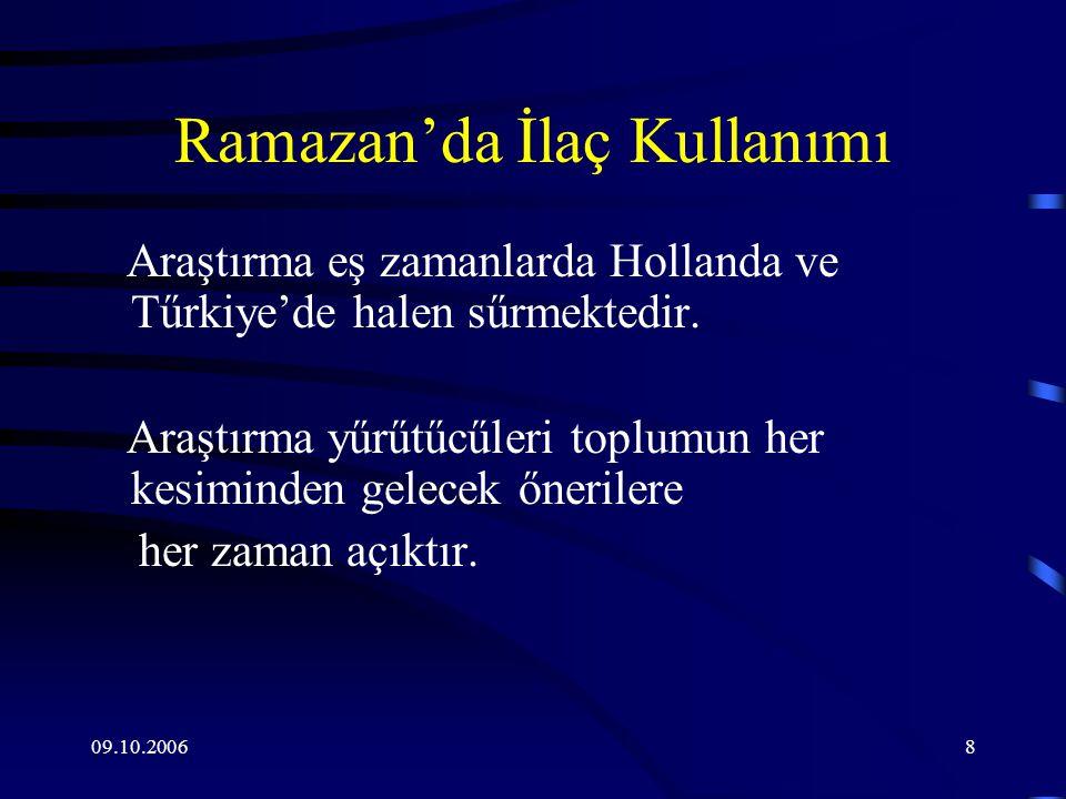 09.10.20068 Ramazan'da İlaç Kullanımı Araştırma eş zamanlarda Hollanda ve Tűrkiye'de halen sűrmektedir.
