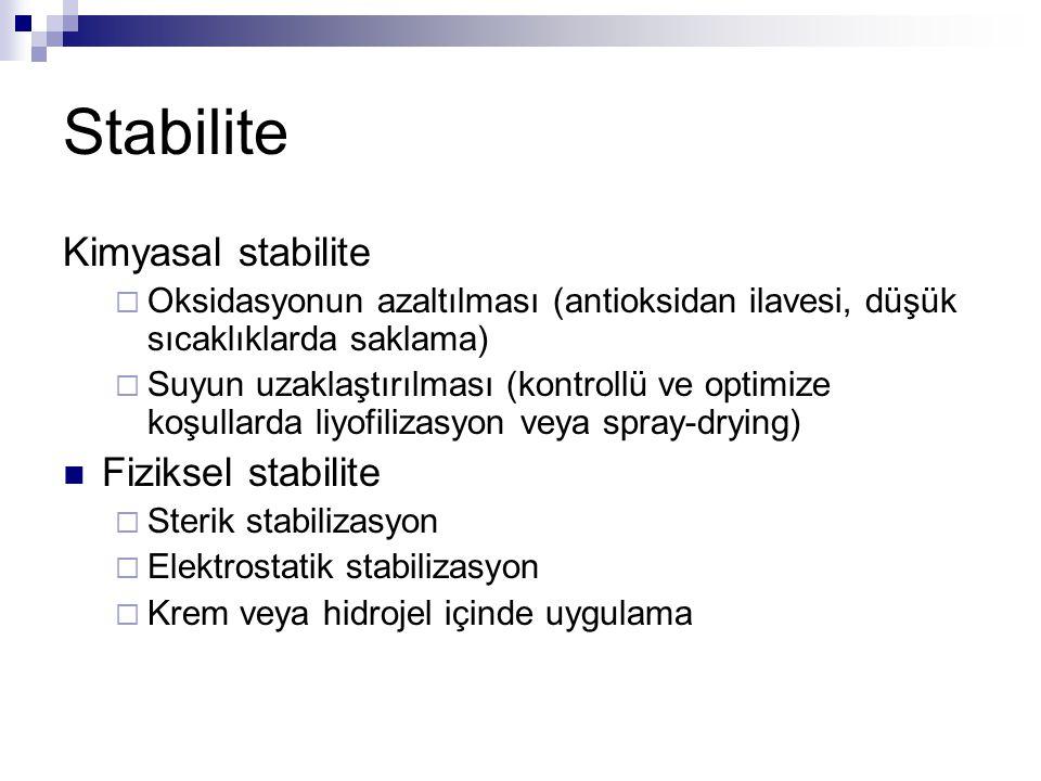 Stabilite Kimyasal stabilite  Oksidasyonun azaltılması (antioksidan ilavesi, düşük sıcaklıklarda saklama)  Suyun uzaklaştırılması (kontrollü ve optimize koşullarda liyofilizasyon veya spray-drying) Fiziksel stabilite  Sterik stabilizasyon  Elektrostatik stabilizasyon  Krem veya hidrojel içinde uygulama