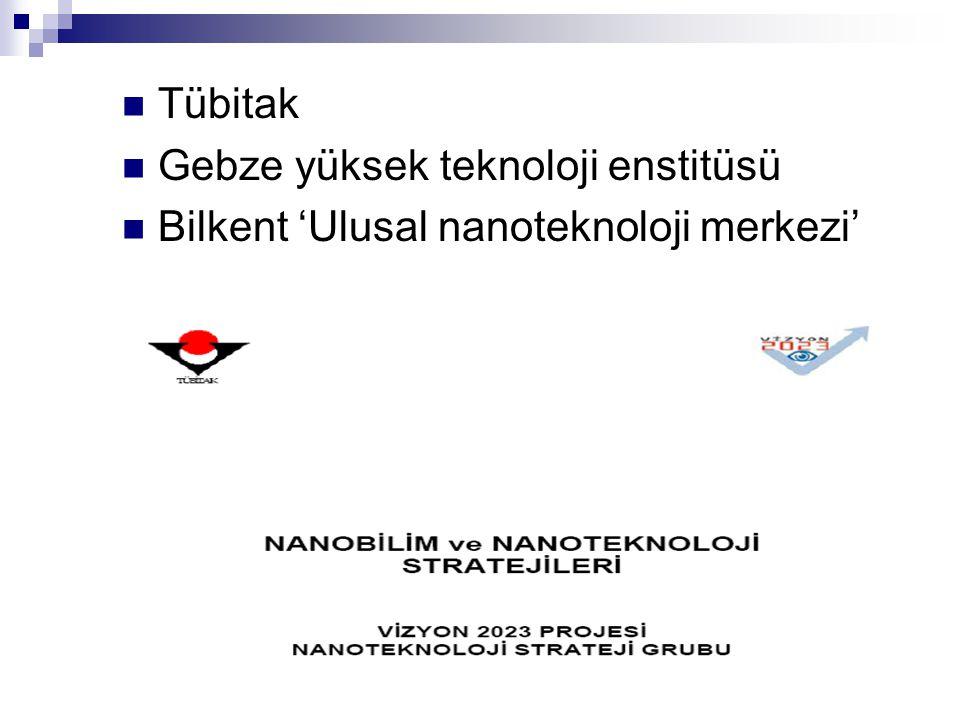 Tübitak Gebze yüksek teknoloji enstitüsü Bilkent 'Ulusal nanoteknoloji merkezi'