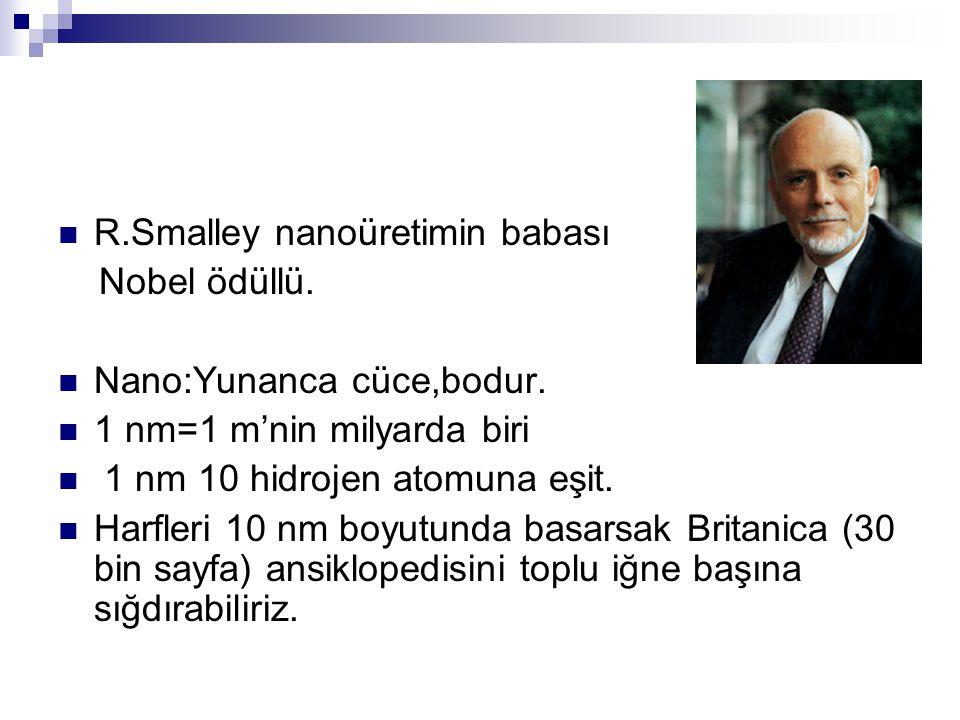 R.Smalley nanoüretimin babası Nobel ödüllü.Nano:Yunanca cüce,bodur.