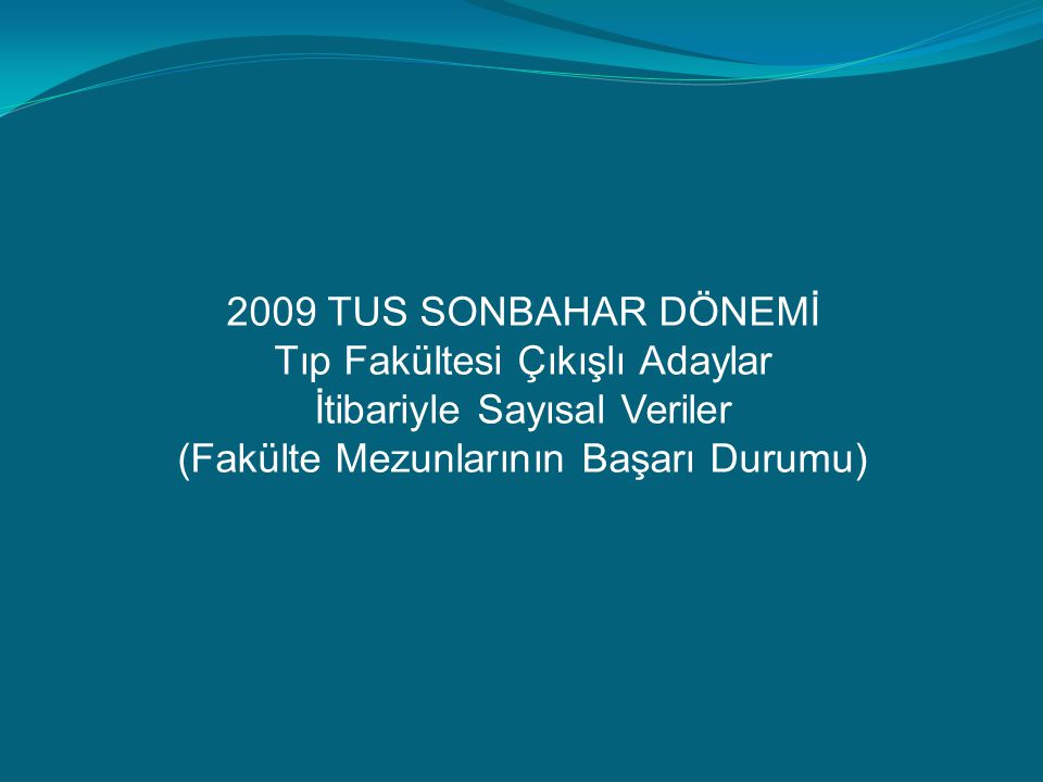 2009 TUS SONBAHAR DÖNEMİ Tıp Fakültesi Çıkışlı Adaylar İtibariyle Sayısal Veriler (Fakülte Mezunlarının Başarı Durumu)