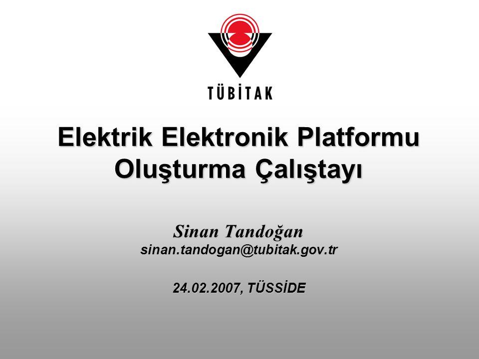 Elektrik Elektronik Platformu Oluşturma Çalıştayı Sinan Tandoğan sinan.tandogan@tubitak.gov.tr 24.02.2007, TÜSSİDE