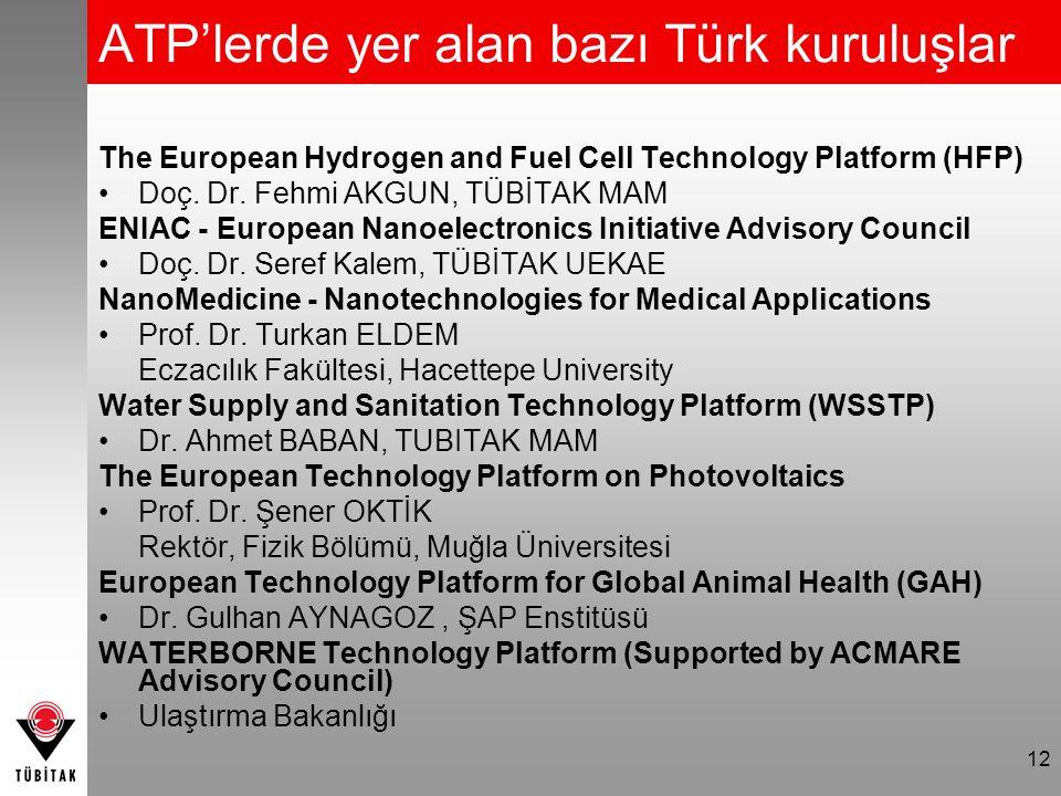 12 ATP'lerde yer alan bazı Türk kuruluşlar The European Hydrogen and Fuel Cell Technology Platform (HFP) Doç. Dr. Fehmi AKGUN, TÜBİTAK MAM ENIAC - Eur