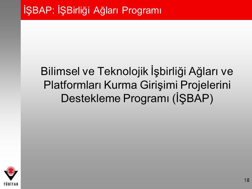 18 İŞBAP: İŞBirliği Ağları Programı Bilimsel ve Teknolojik İşbirliği Ağları ve Platformları Kurma Girişimi Projelerini Destekleme Programı (İŞBAP)