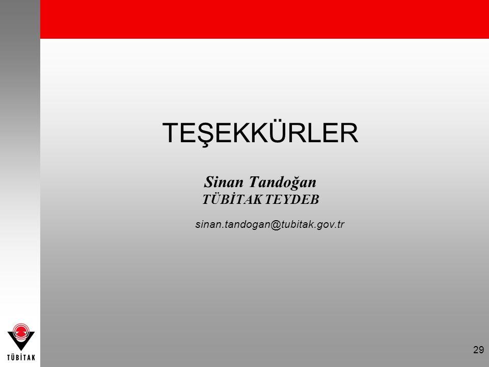 29 TEŞEKKÜRLER Sinan Tandoğan TÜBİTAK TEYDEB sinan.tandogan@tubitak.gov.tr