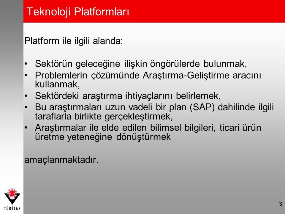 3 Teknoloji Platformları Platform ile ilgili alanda: Sektörün geleceğine ilişkin öngörülerde bulunmak, Problemlerin çözümünde Araştırma-Geliştirme aracını kullanmak, Sektördeki araştırma ihtiyaçlarını belirlemek, Bu araştırmaları uzun vadeli bir plan (SAP) dahilinde ilgili taraflarla birlikte gerçekleştirmek, Araştırmalar ile elde edilen bilimsel bilgileri, ticari ürün üretme yeteneğine dönüştürmek amaçlanmaktadır.