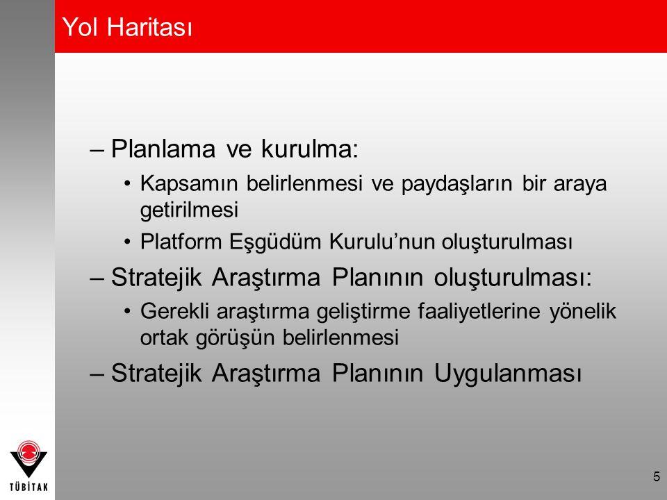 5 Yol Haritası –Planlama ve kurulma: Kapsamın belirlenmesi ve paydaşların bir araya getirilmesi Platform Eşgüdüm Kurulu'nun oluşturulması –Stratejik A