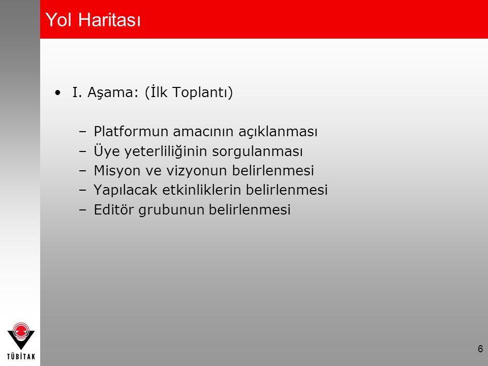 6 Yol Haritası I. Aşama: (İlk Toplantı) –Platformun amacının açıklanması –Üye yeterliliğinin sorgulanması –Misyon ve vizyonun belirlenmesi –Yapılacak