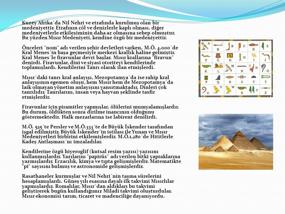 Kuzey Afrika´da Nil Nehri ve etrafında kurulmuş olan bir medeniyettir. Etrafının çöl ve denizlerle kaplı olması, diğer medeniyetlerle etkileşiminin da