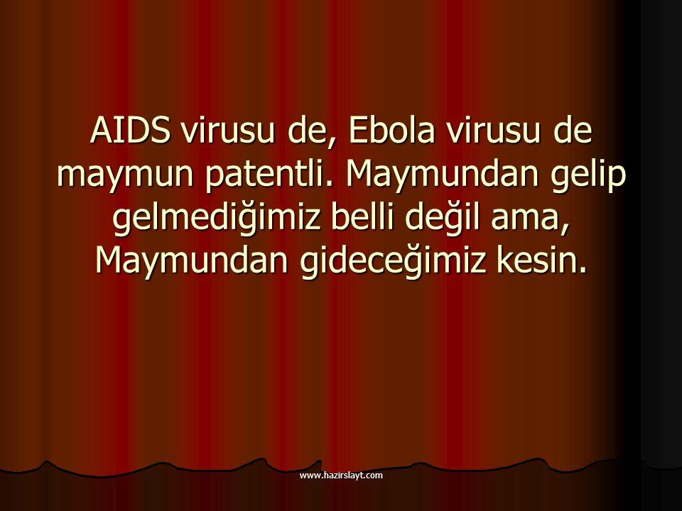 www.hazirslayt.com AIDS virusu de, Ebola virusu de maymun patentli. Maymundan gelip gelmediğimiz belli değil ama, Maymundan gideceğimiz kesin.