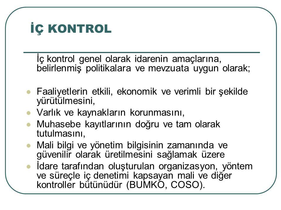 İç Kontrol Sistemi İç kontrol sistemi esas olarak kontrol sürecinde makul bir güvencenin sağlanmasına yönelik olarak, Hesapverme sorumluluğu (raporlama), Uygunluk (yasalara ve yönetmeliklere uygunluk), Faaliyetler (düzenli etik kurallarına uygun, ekonomik, verimli ve etkin faaliyetler) Kaynakların korunması şeklinde sıralanacak dört genel hedefin yerine getirilmesini bir organizasyon ve veya kurum için gözetmektedir.