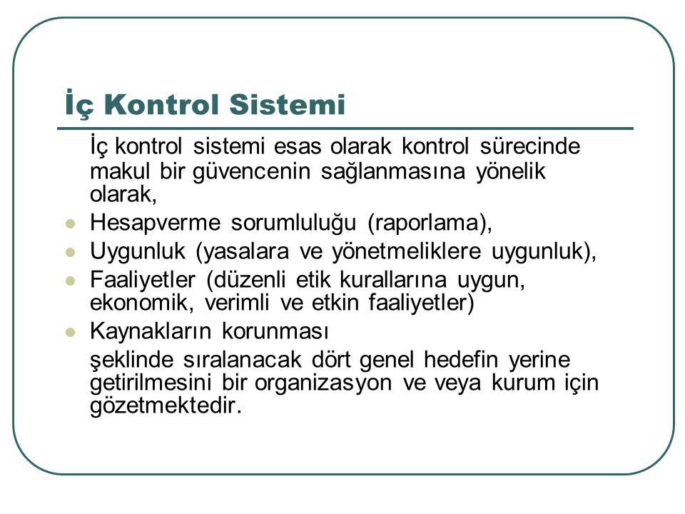 İç Kontrol Sistemi İç kontrol sistemi esas olarak kontrol sürecinde makul bir güvencenin sağlanmasına yönelik olarak, Hesapverme sorumluluğu (raporlam