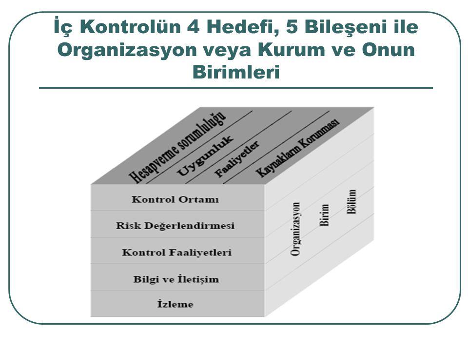 İç Kontrolün 4 Hedefi, 5 Bileşeni ile Organizasyon veya Kurum ve Onun Birimleri