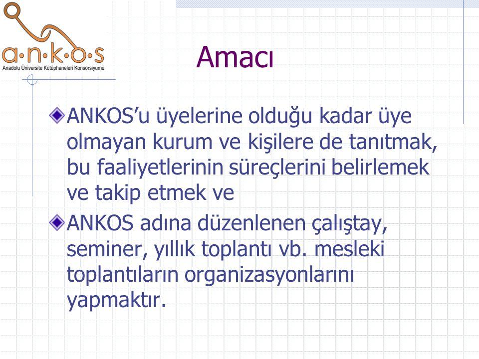 Amacı ANKOS'u üyelerine olduğu kadar üye olmayan kurum ve kişilere de tanıtmak, bu faaliyetlerinin süreçlerini belirlemek ve takip etmek ve ANKOS adın