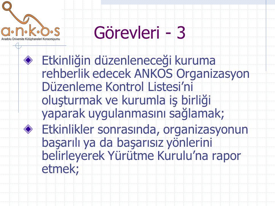 Görevleri - 3 Etkinliğin düzenleneceği kuruma rehberlik edecek ANKOS Organizasyon Düzenleme Kontrol Listesi'ni oluşturmak ve kurumla iş birliği yaparak uygulanmasını sağlamak; Etkinlikler sonrasında, organizasyonun başarılı ya da başarısız yönlerini belirleyerek Yürütme Kurulu'na rapor etmek;