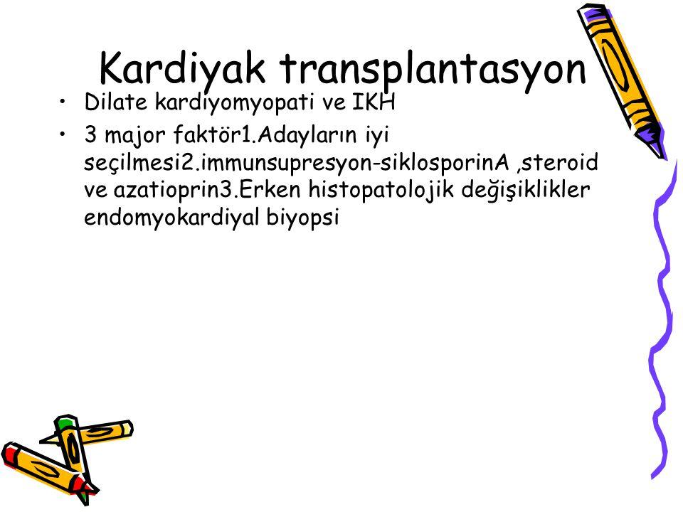 Kardiyak transplantasyon Dilate kardiyomyopati ve IKH 3 major faktör1.Adayların iyi seçilmesi2.immunsupresyon-siklosporinA,steroid ve azatioprin3.Erke