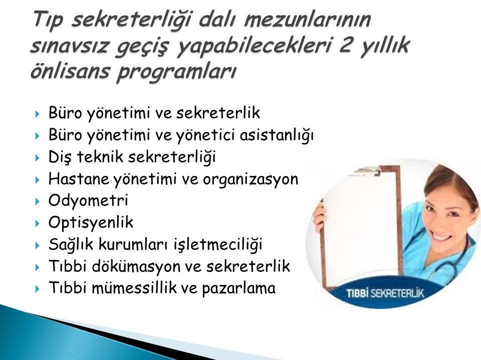  Büro yönetimi ve sekreterlik  Büro yönetimi ve yönetici asistanlığı  Diş teknik sekreterliği  Hastane yönetimi ve organizasyon  Odyometri  Opti