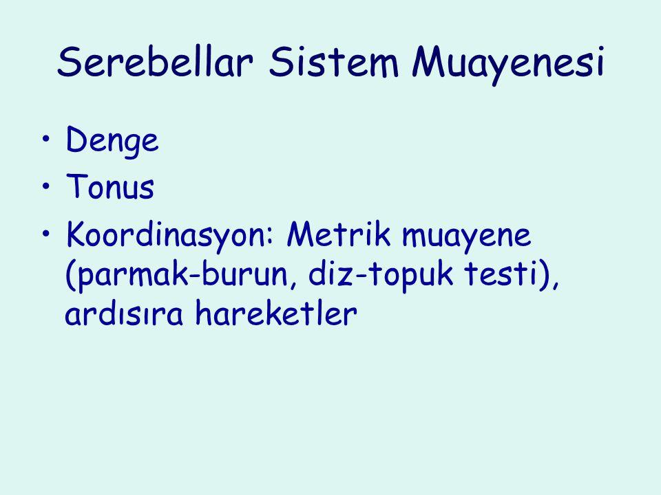 Serebellar Sistem Muayenesi Denge Tonus Koordinasyon: Metrik muayene (parmak-burun, diz-topuk testi), ardısıra hareketler