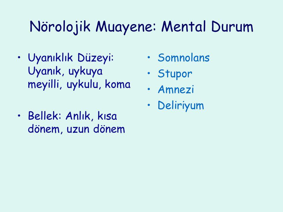 Nörolojik Muayene: Mental Durum Konuşma: Akıcılık, anlama, tekrarlama, isimlendirme, okuma, yazma Disfazi, afazi Motor disfazi (Broca) Sensoriyal afazi (Wernicke)
