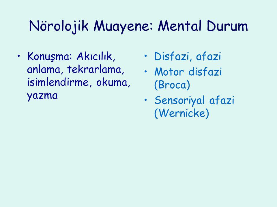 Nörolojik Muayene: Mental Durum Konuşma: Akıcılık, anlama, tekrarlama, isimlendirme, okuma, yazma Disfazi, afazi Motor disfazi (Broca) Sensoriyal afaz