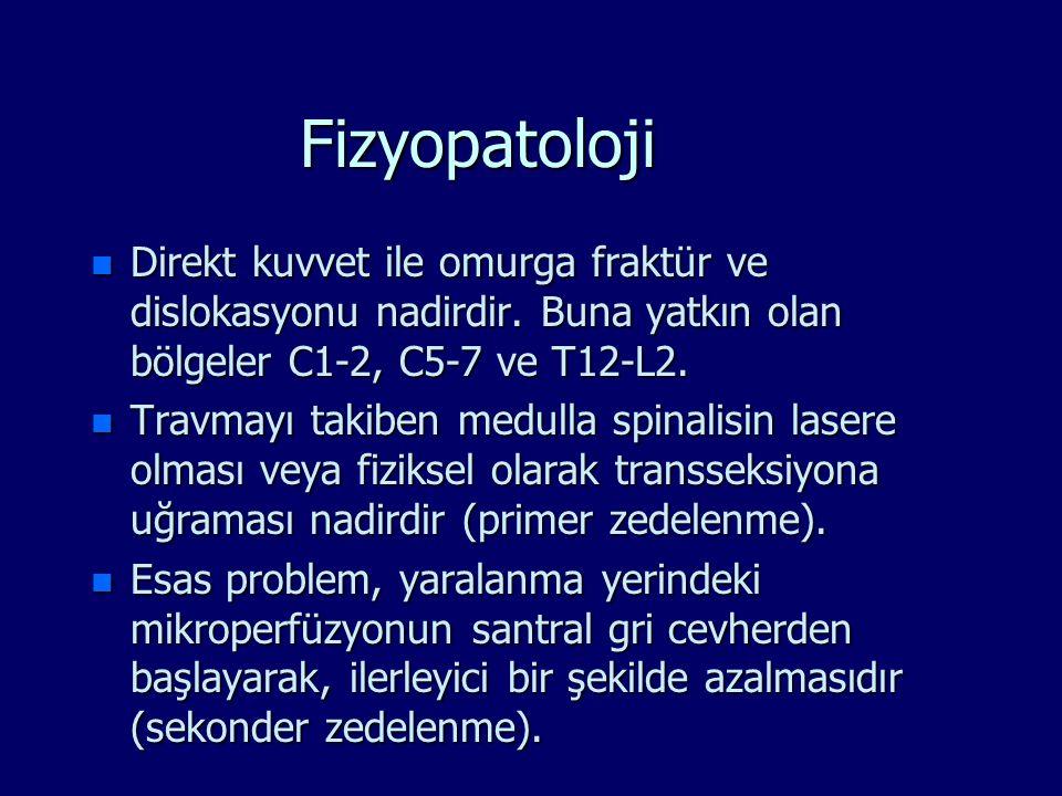 Fizyopatoloji n Direkt kuvvet ile omurga fraktür ve dislokasyonu nadirdir. Buna yatkın olan bölgeler C1-2, C5-7 ve T12-L2. n Travmayı takiben medulla