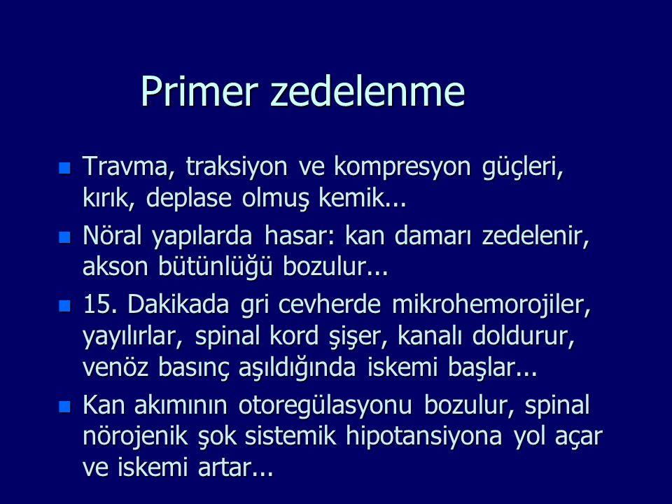 Primer zedelenme n Travma, traksiyon ve kompresyon güçleri, kırık, deplase olmuş kemik... n Nöral yapılarda hasar: kan damarı zedelenir, akson bütünlü