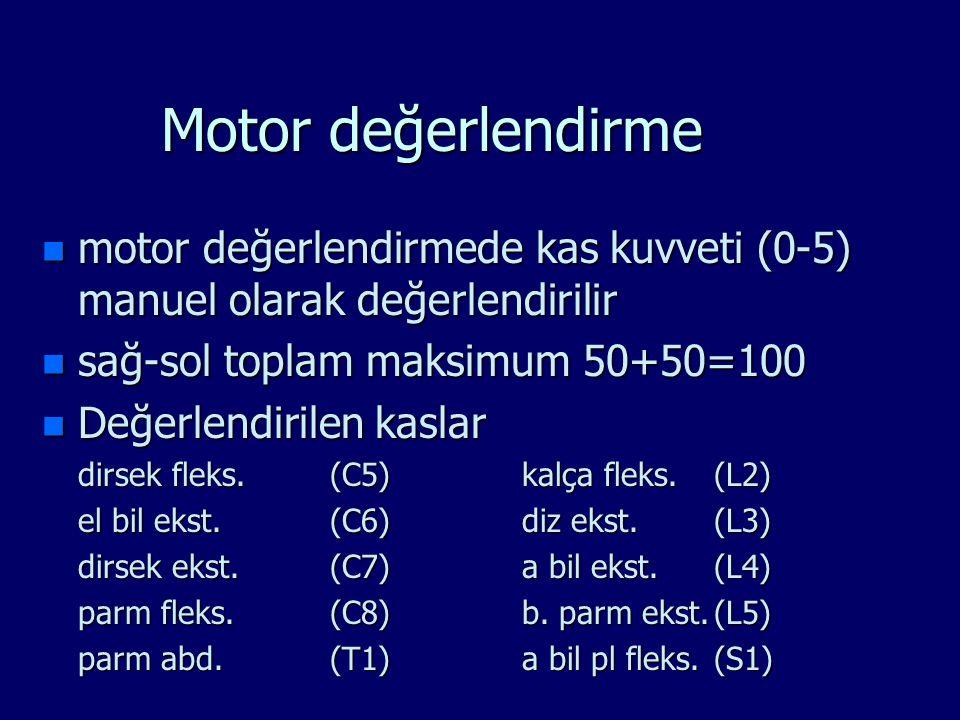 Motor değerlendirme n motor değerlendirmede kas kuvveti (0-5) manuel olarak değerlendirilir n sağ-sol toplam maksimum 50+50=100 n Değerlendirilen kasl