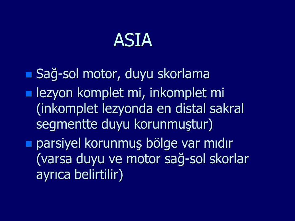 ASIA n Sağ-sol motor, duyu skorlama n lezyon komplet mi, inkomplet mi (inkomplet lezyonda en distal sakral segmentte duyu korunmuştur) n parsiyel koru