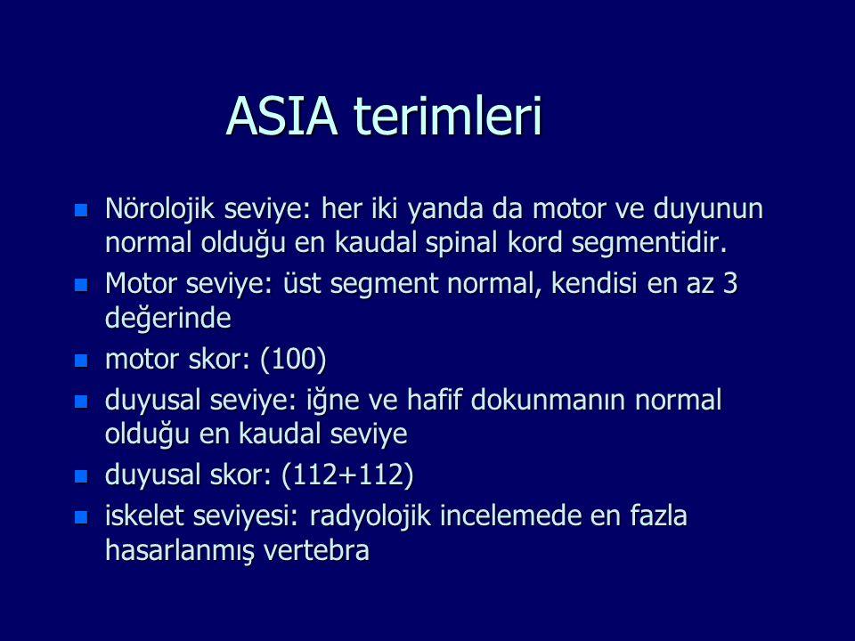 ASIA terimleri n Nörolojik seviye: her iki yanda da motor ve duyunun normal olduğu en kaudal spinal kord segmentidir. n Motor seviye: üst segment norm