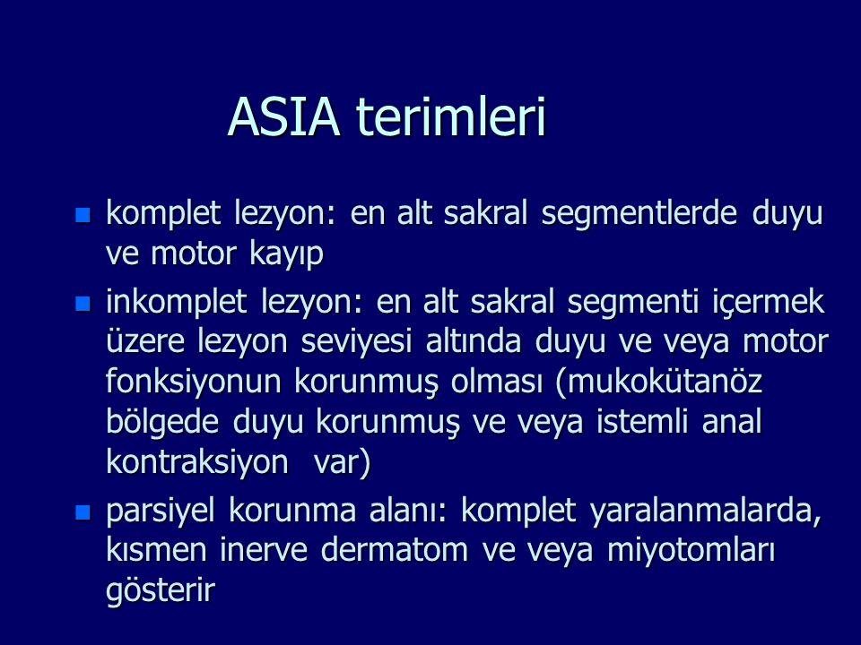 ASIA terimleri n komplet lezyon: en alt sakral segmentlerde duyu ve motor kayıp n inkomplet lezyon: en alt sakral segmenti içermek üzere lezyon seviye