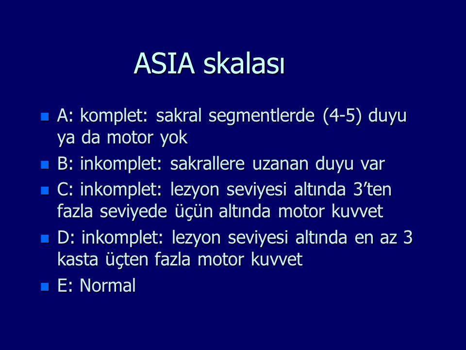 ASIA skalası n A: komplet: sakral segmentlerde (4-5) duyu ya da motor yok n B: inkomplet: sakrallere uzanan duyu var n C: inkomplet: lezyon seviyesi a
