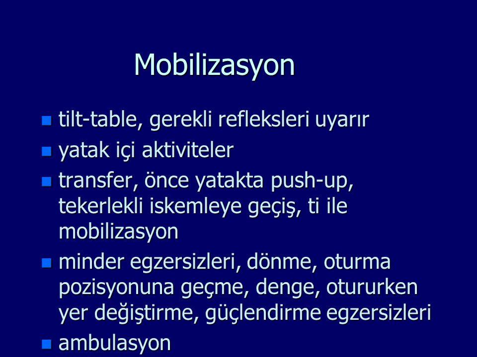 Mobilizasyon n tilt-table, gerekli refleksleri uyarır n yatak içi aktiviteler n transfer, önce yatakta push-up, tekerlekli iskemleye geçiş, ti ile mob