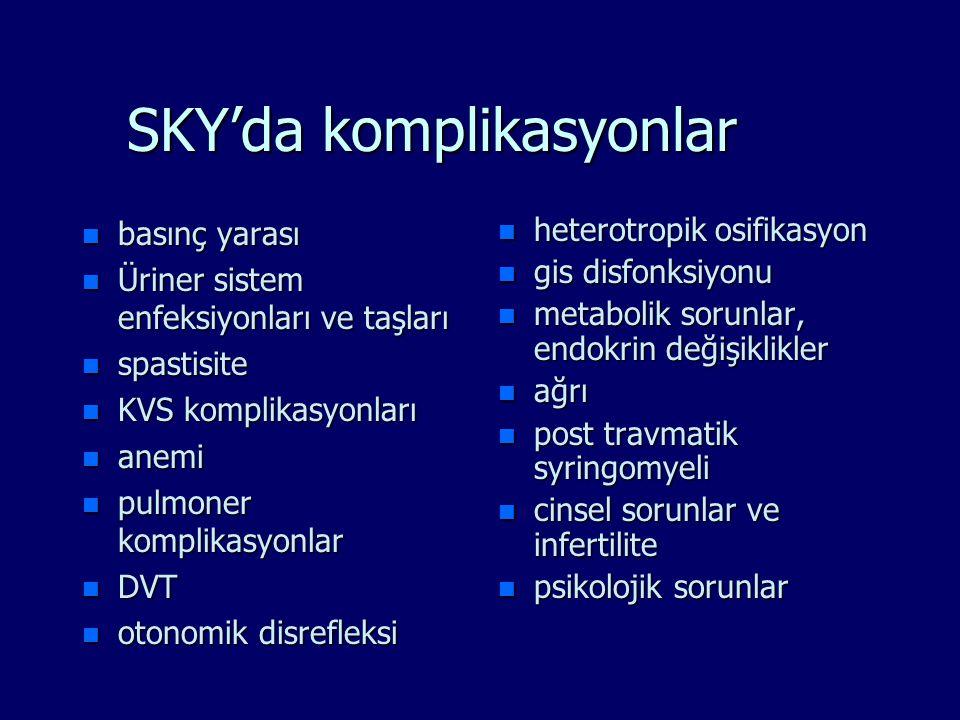 SKY'da komplikasyonlar n basınç yarası n Üriner sistem enfeksiyonları ve taşları n spastisite n KVS komplikasyonları n anemi n pulmoner komplikasyonla