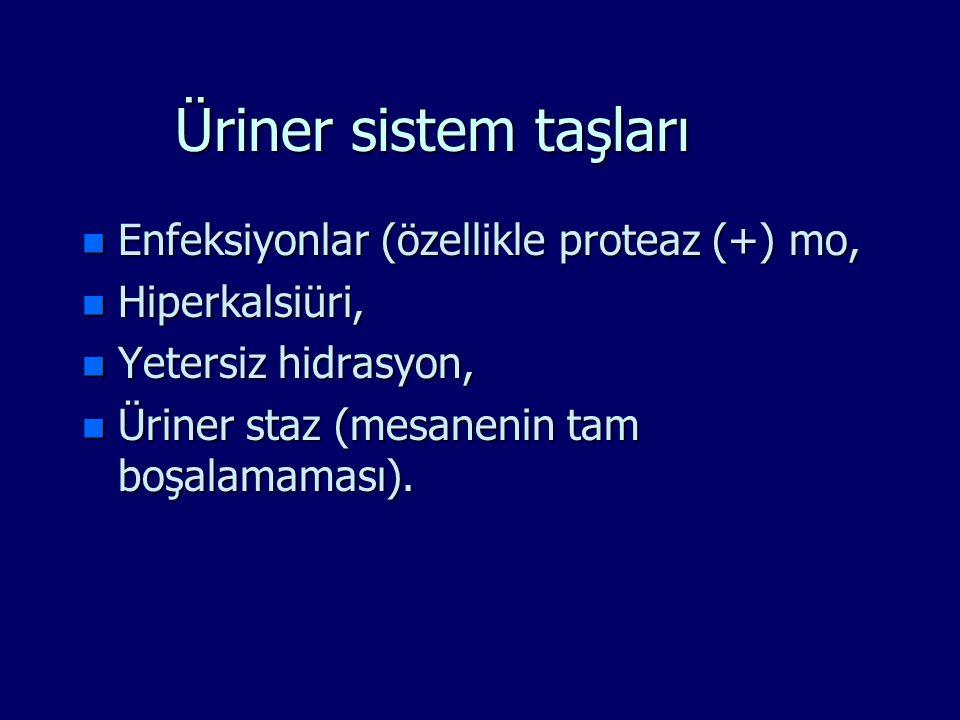 Üriner sistem taşları n Enfeksiyonlar (özellikle proteaz (+) mo, n Hiperkalsiüri, n Yetersiz hidrasyon, n Üriner staz (mesanenin tam boşalamaması).