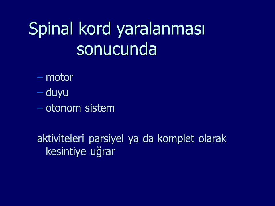 Spinal kord yaralanması sonucunda –motor –duyu –otonom sistem aktiviteleri parsiyel ya da komplet olarak kesintiye uğrar