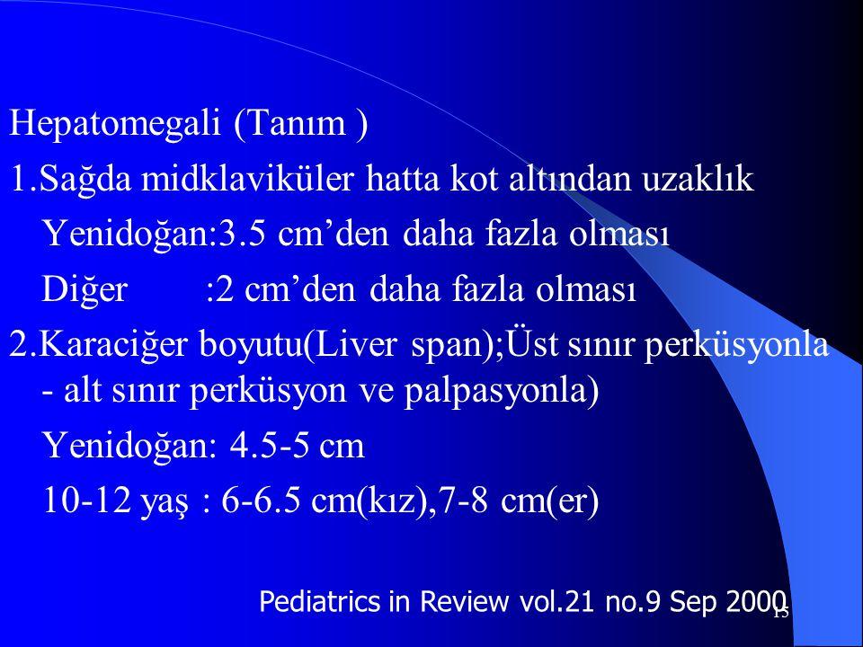15 Hepatomegali (Tanım ) 1.Sağda midklaviküler hatta kot altından uzaklık Yenidoğan:3.5 cm'den daha fazla olması Diğer :2 cm'den daha fazla olması 2.K