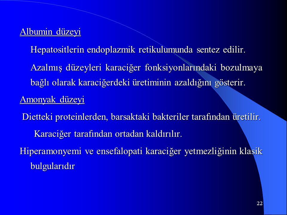 22 Albumin düzeyi Hepatositlerin endoplazmik retikulumunda sentez edilir.