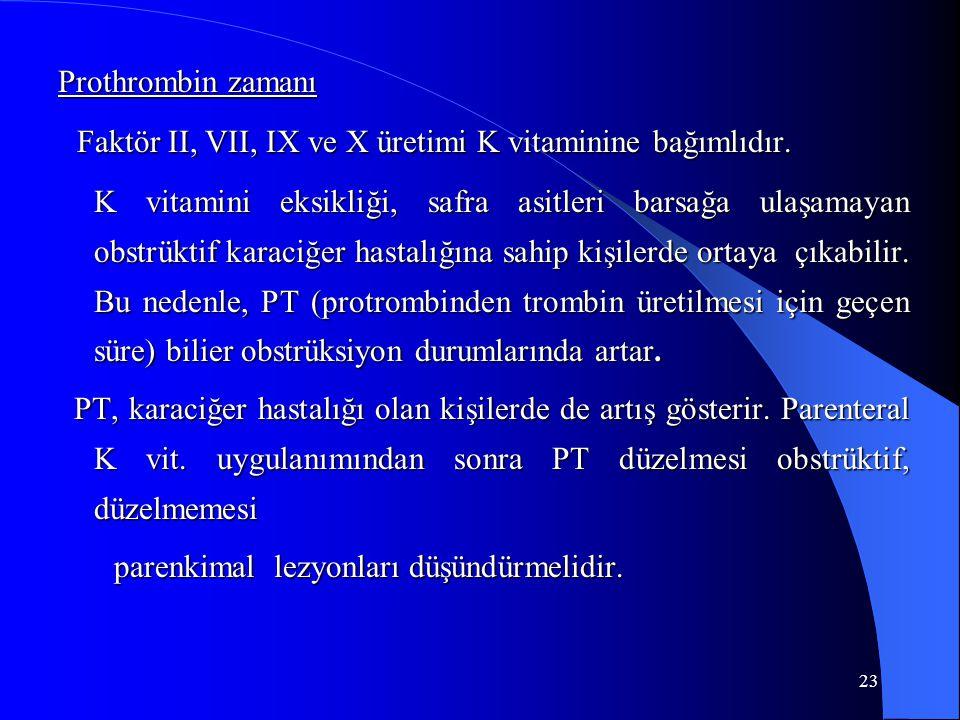 23 Prothrombin zamanı Faktör II, VII, IX ve X üretimi K vitaminine bağımlıdır.