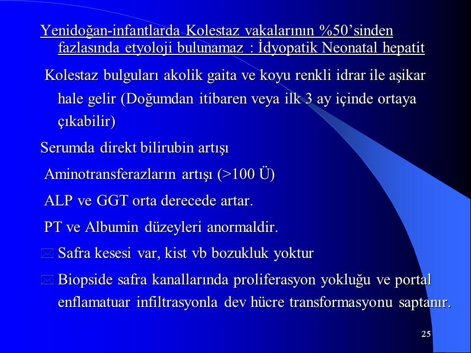 25 Yenidoğan-infantlarda Kolestaz vakalarının %50'sinden fazlasında etyoloji bulunamaz : İdyopatik Neonatal hepatit Kolestaz bulguları akolik gaita ve