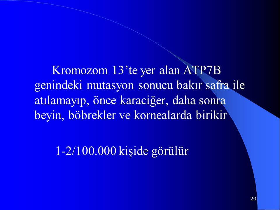 29 Kromozom 13'te yer alan ATP7B genindeki mutasyon sonucu bakır safra ile atılamayıp, önce karaciğer, daha sonra beyin, böbrekler ve kornealarda birikir 1-2/100.000 kişide görülür